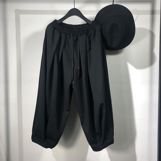 Owen Seak Men Casual Cross Pants Skirt High Street Wear Dark Ankle Length Pants Men Japanese Sweatpants Spring Harem Black Pants 1