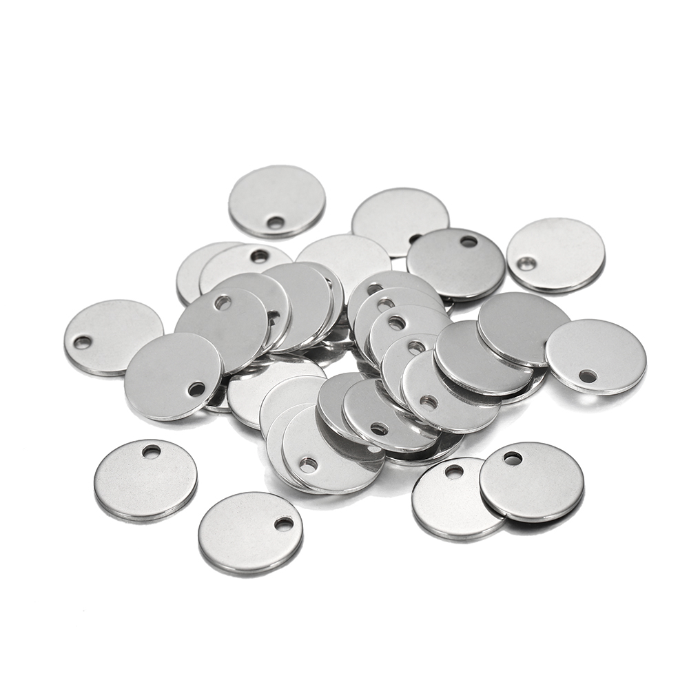 10-50pcs/lot 6-30mm Stainless Steel Round One Hole Charms Pendants Dog Tag For DIY Jewelry Making Findings Bracelet Supplies