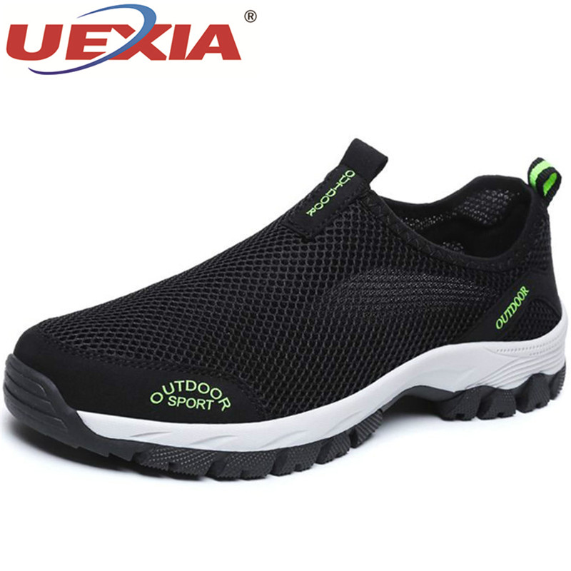 UEXIA New Footwear Men Summer Comfortable Casual Shoes Slip-on Breathable Air Mesh Flats Trainers Sneakers Water Loafers 39-49