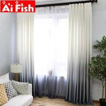Шторы с градиентным переходом цвета вуаль серый цвет современные