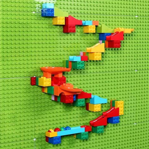 77 pcs set tamanho grande bloco de mable corrida corrida building block compativel legoinglys duploed