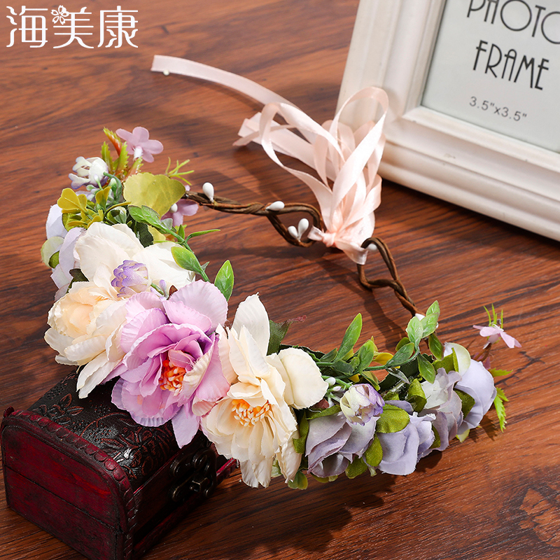 Haimeikang Women Wedding Flower Crown Wreath Bohemia Handmade Floral Garlands Flower Headband Hair Accessories Bride Headdress