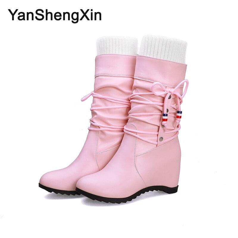 YANSHENGXIN Shoes Woman Boots Elastic Band Women Autumn Winter Internal increase Ladies Booties