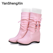 YANSHENGXIN Shoes Woman Boots Elastic Band Women Boots Autumn Winter Boots Internal increase Shoes Ladies Booties