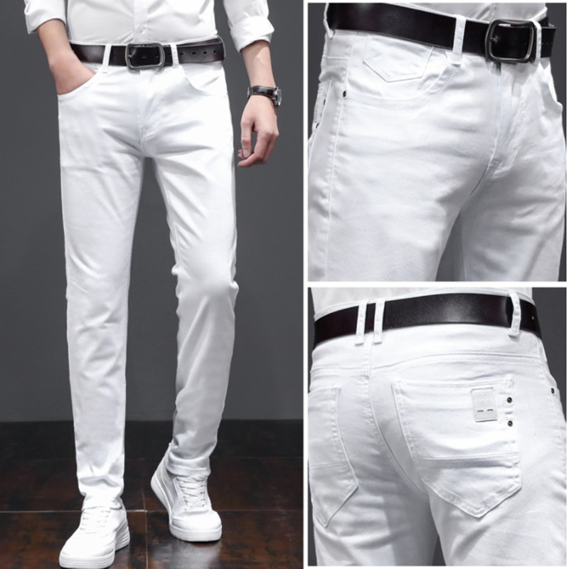 Men's Fashion White Jeans 2020 New Brand Clothing High Quality Cotton Elastic Comfortable Business Casual Youth Slim Jeans