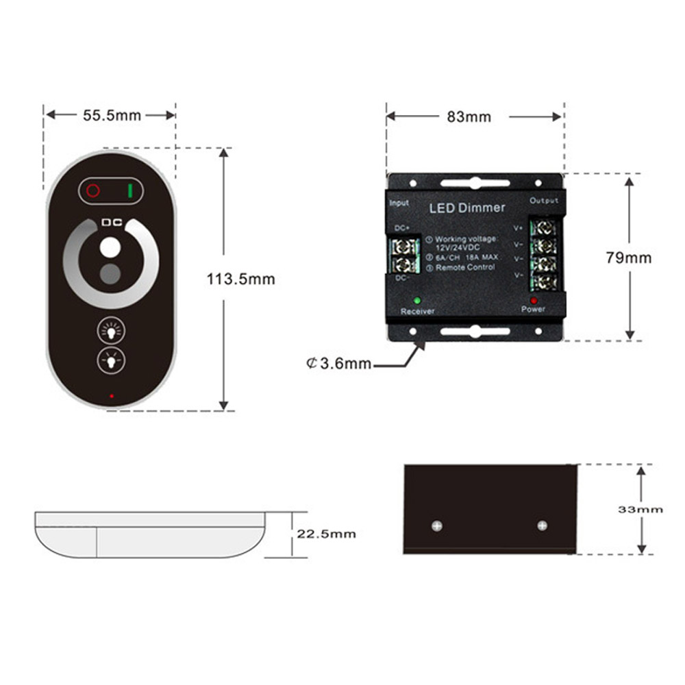 12-24v do rf 216 mhz do controlador
