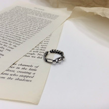 Vintage S925 Sterling Thai Silver 925 Original Luxury Open Ended Rings Resizable Weird Funny Twist Beads Hollow Charm Ring цена 2017