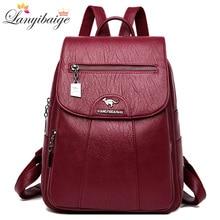 3-in-1 Vintage Backpack Women High Capacity Leather Shoulder Bags Large Capacity Travel Backpack School Bags For Teenage Girls