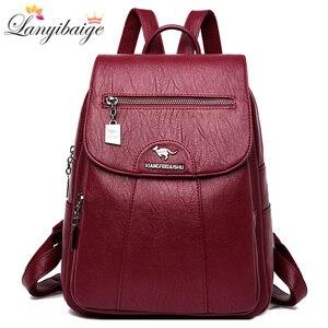 Image 1 - 3 in 1 Vintage sırt çantası kadın yüksek kapasiteli deri omuz çantaları büyük kapasiteli seyahat sırt çantası genç kızlar için okul çantaları
