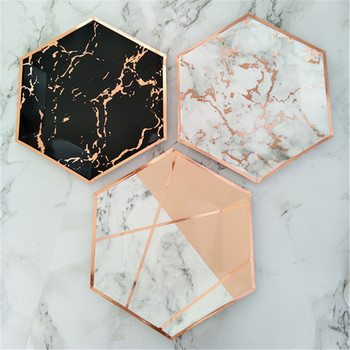 120pcs Marble Party Decor Dessert Plates Large 10inch Blush Pink & Rose Foil Paper Dishes Black Rose Gold Birthday Party Deocr