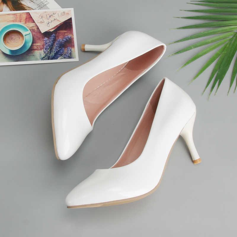 Meotina kadınlar yüksek topuklu ayakkabı sivri burun yüksek topuk ayakkabı kadın pompaları beyaz düğün topuklar ayakkabı sarı siyah büyük boy 9 10