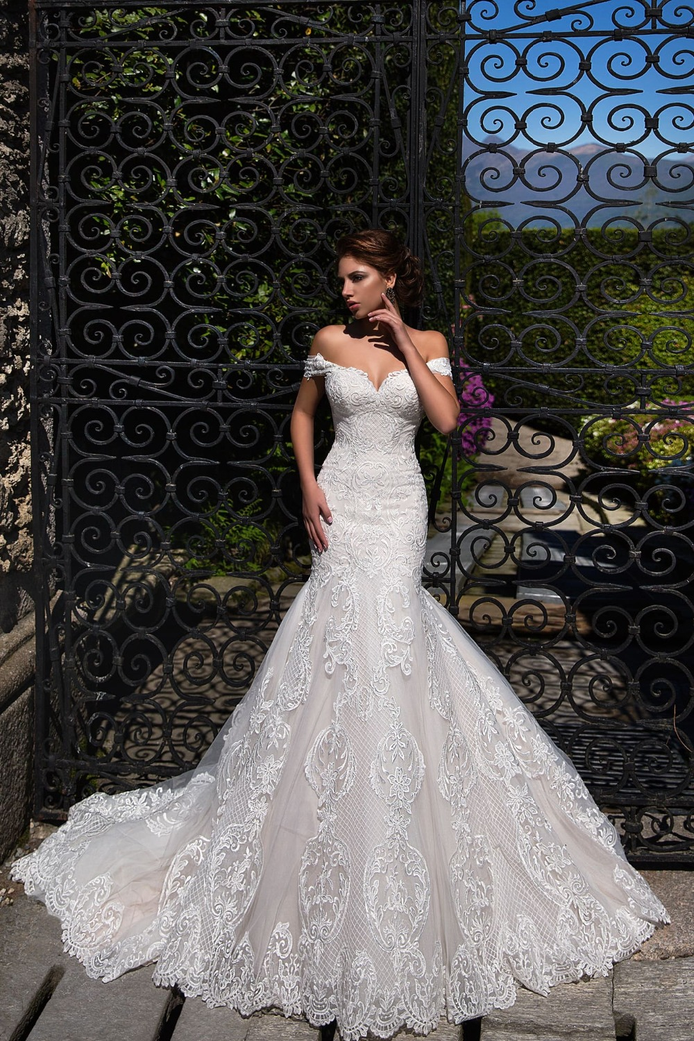 New 2020 Mermaid Wedding Dresses Lace Up Appliques Tulle Wedding Gowns Bride Dress Lace Mariage Gowns Off Shoulder Wedding Dress