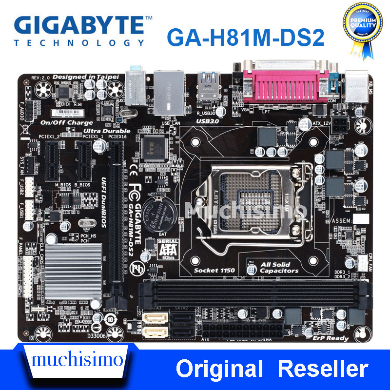 GIGABYTE GA-H81M-DS2 Desktop Motherboard H81 Socket LGA 1150 I3i5 I7 DDR3 16G Micro-ATX UEFI BIOS Original Refurbished Mainboard