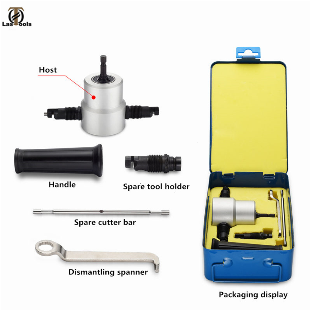 Nibble Metal Cutting Double Head Sheet Nibbler Hole Saw Cutter Drill Tool Tackle Car Replace Repair Metal Sheet Accessory Tool