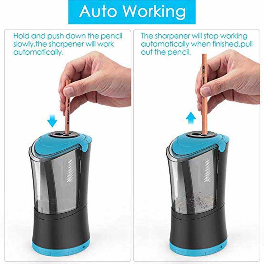 USB /& Battery Operated with Extra Blade Refill 3 Adjustable Sharpening Modes Sharpens Fast Portable and Safety Design for School Classroom Office Home Use Deli Electric Pencil Sharpener