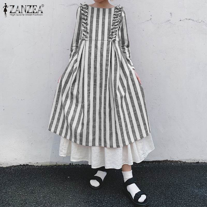 ZANZEA Women Spring Long Sleeve Ruffles Sundress Vintage O Neck Striped Dress Kaftan Plus Size Dresses Robe Loose Long Vestido