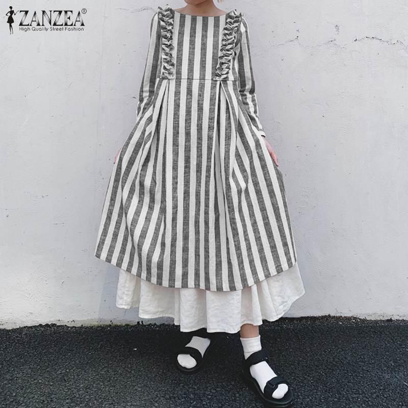 ZANZEA Women Spring Long Sleeve Ruffles Sundress Vintage O Neck Striped Dress Kaftan Plus Size Dresses Robe Loose Long Vestido