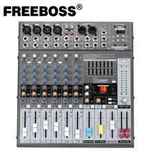 Freeboss me82a ultra baixo ruído 4 mono + 2 estéreo 8 canais 16 dsp usb profissional dj áudio mixer console