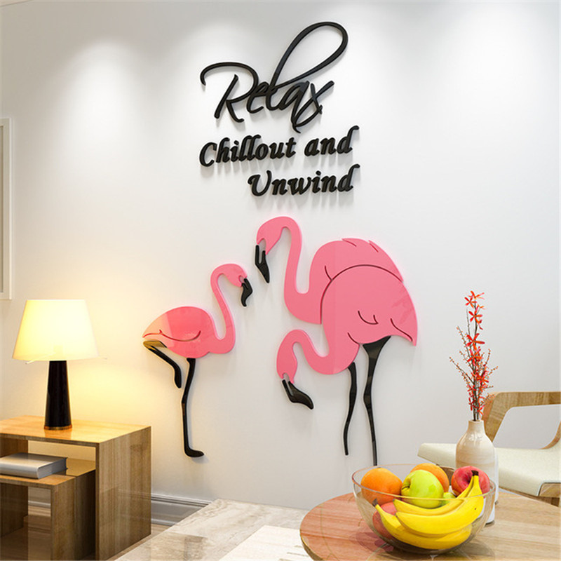Flamingo Nordic style 3d Wall Stickers for Living Room kids room porch Bedroom home Decor Stickers Self-adhesive Painting Mural