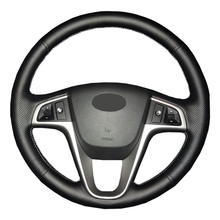 현대 솔라리스 용 인공 가죽 자동차 핸들 커버 Verna i20 2008 2012 Accent/Custom made 전용 스티어링 휠