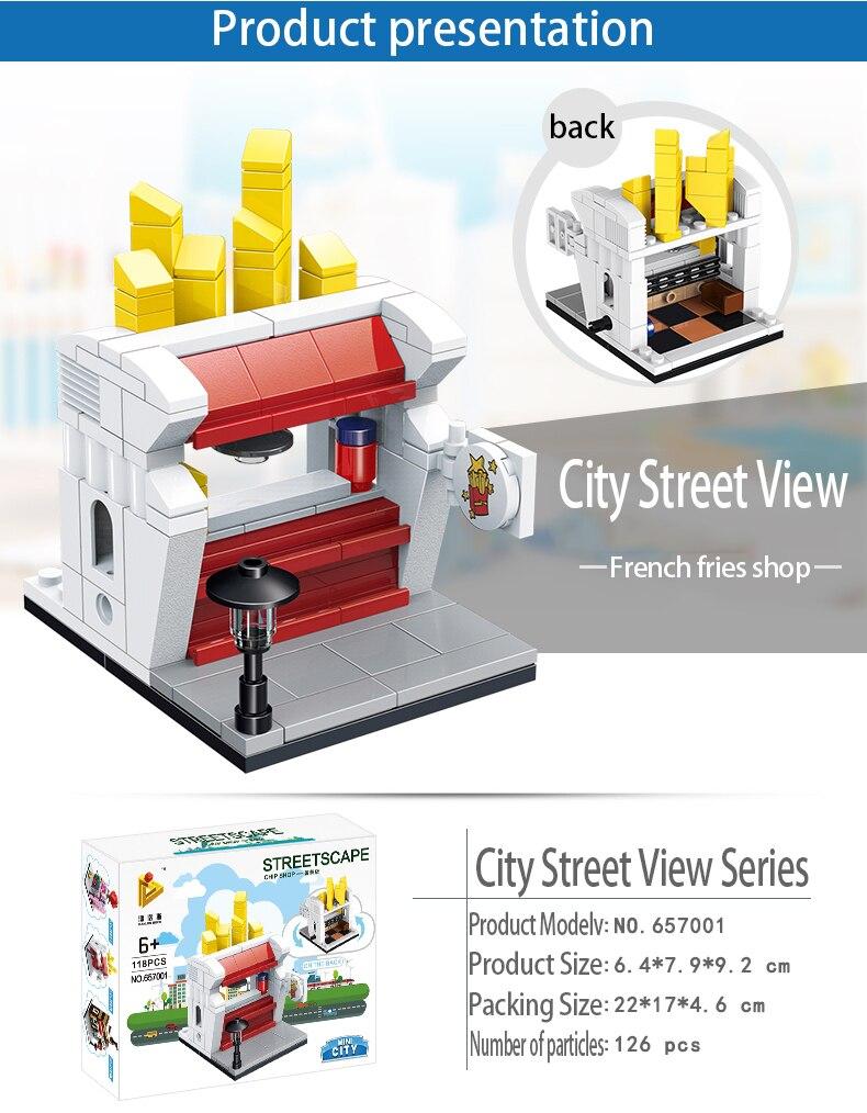 Mini Lego City Street View Block Retail Store Restaurant DIY Building Blocks Compatible lego technic Tech Building kids Toys