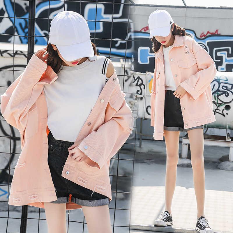 Primavera outono novo solto plus size bf estudante buraco selvagem denim jaqueta feminina preto roupas jeans caots outwear 1786
