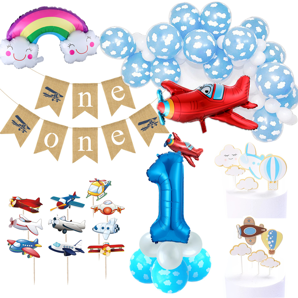 1 set airplane cloud theme party latex globos 30inch foil number ballons stand column set baby shower birthday party decorations image