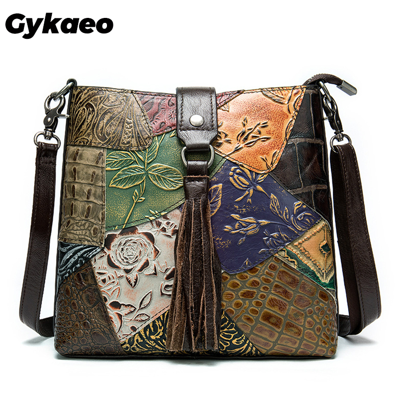 Gykaeo Female Casual Outdoor Genuine Leather Shoulder Bags Handbags Women Famous Brands Small Cowhide Messenger Bag Sac A Main