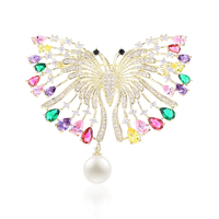 VERY GIRL Luxurious Micro Paved Cubic Zircon Colorful Butterfly Brooch Copper Insect Animal Brooches Pin Women Scarf Buckle