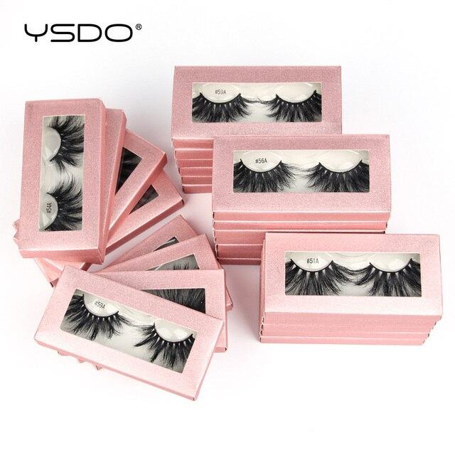 YSDO 25mm Eyelashes Wholesale 10/20/100 Pairs 25mm 3D Mink Lashes Makeup Long 5D Real Mink Eyelashes In Bulk Thick Fake Lashes 3