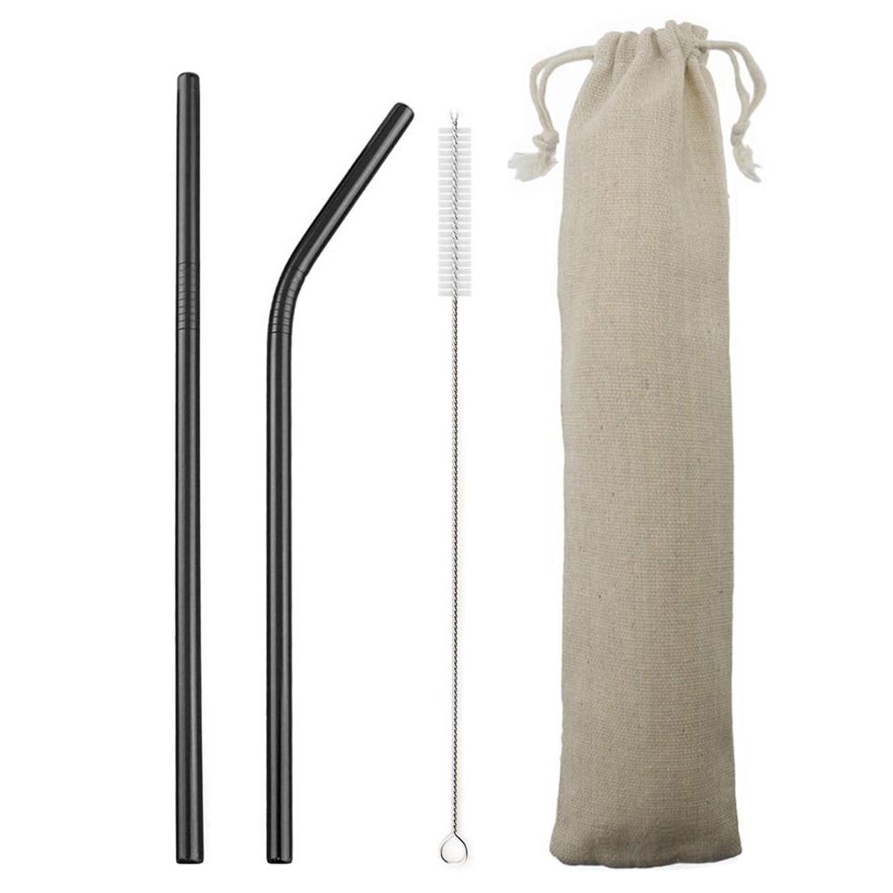 18/10 en acier inoxydable paille ensemble réutilisable en métal boire paille ensemble droite plié paille avec plus propre brosse sac de rangement en gros |