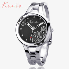 Kimio Brand Women's Bracelet Watch Stainless Steel Clover Crystal Ladies Dress Watches Black Quartz-watch Relogio Feminino(China)