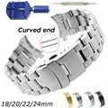 Curved End Uhr Band 18mm 20mm 22mm 24mm Ersatz Uhr Gurt Doppel Lock Verschluss Edelstahl armband mit Werkzeuge