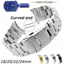 Curved End Watch Band 18mm 20mm 22mm 24mm Replacement Watch Strap Double Lock Clasp Stainless Steel Watchband with Tools