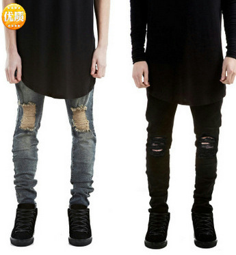 Fashion Men Ripped Skinny Jeans Stretch Destroyed Frayed Slim Fit Denim Pant with Pencil Pants Trousers Men Clothes