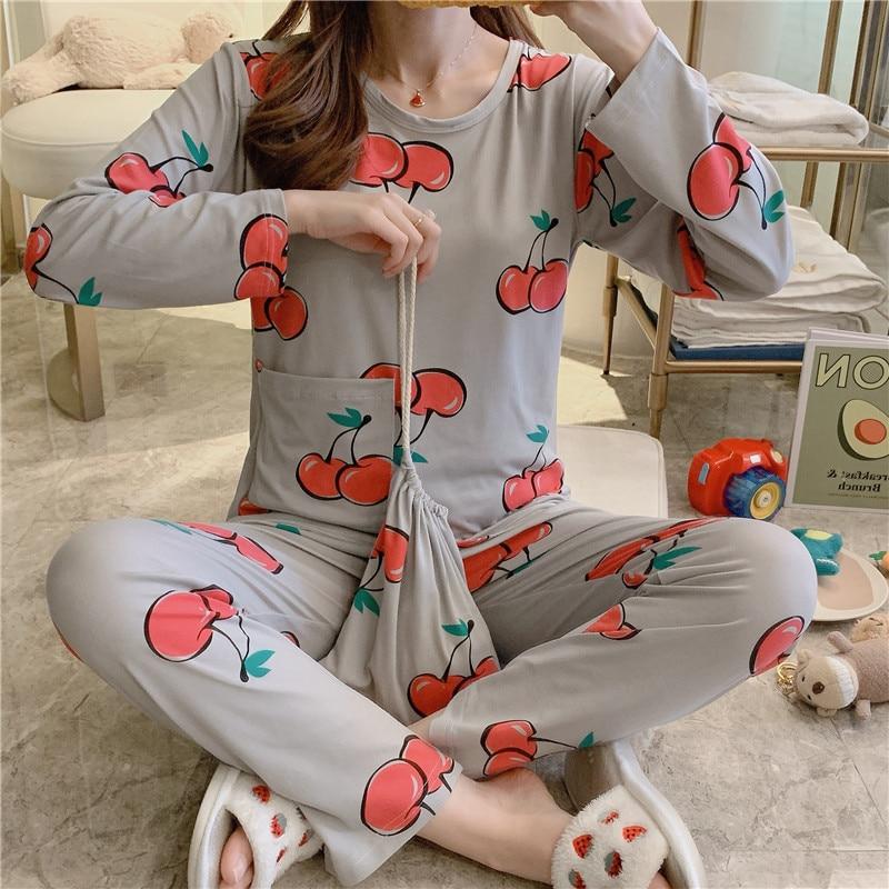 INS Spring Korean-style Storage Bag Three-piece Set Pajamas Women Long Sleeve Low Price Qmilch Cloth Bag Pajamas