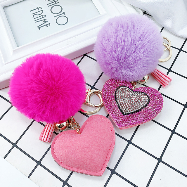 Pompom Keychain Rhinestone Heart Women's Bags Key Ring Handmade Accrssories Keychains Pendants Charming Suspension Decoration 2