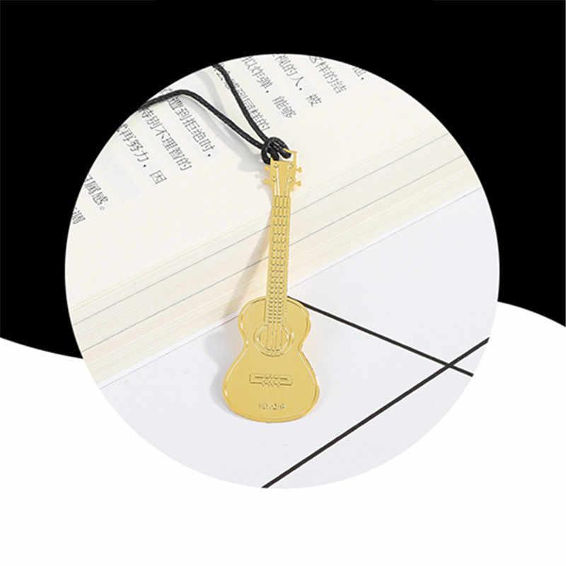 1PC Nette Gold Metall Lesezeichen Mode Musik Klavier Gitarre Lesezeichen Für Buch Kreative Geschenk Koreanische Schreibwaren
