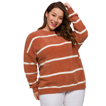 Plus Size Ladies Casual Knitted Pullovers Autumn Winter Warm Casual Sweater Women Striped Female Jumpers New 2020 Roupa Feminina цена 2017