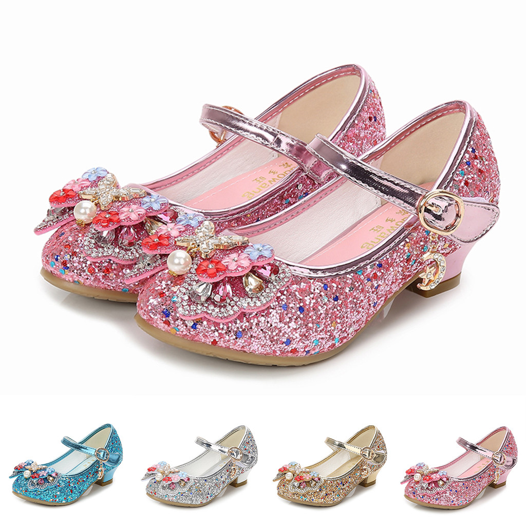 Toddler Infant Kids Girls Pearl Butterfly Knot Crystal Party Princess Shoes Baby Kids Shoes