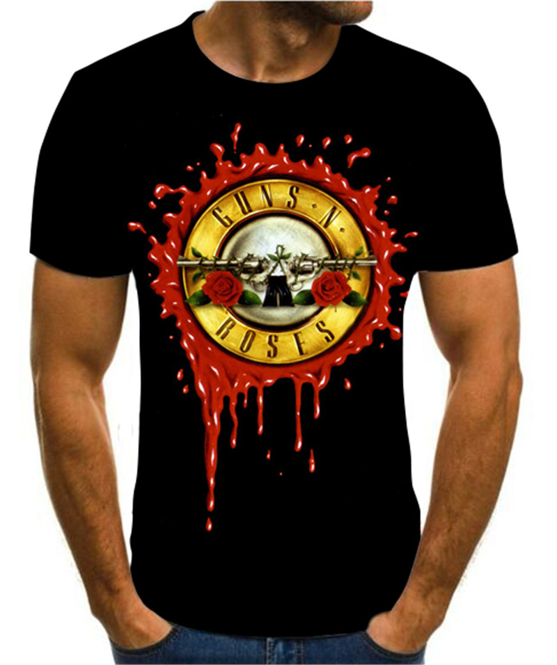 New 3D Printing Fashion T-shirt Gun And Rose Men's T-shirt Creative Design Heavy Metal Top Cool And Versatile Hip-hop T-shirt