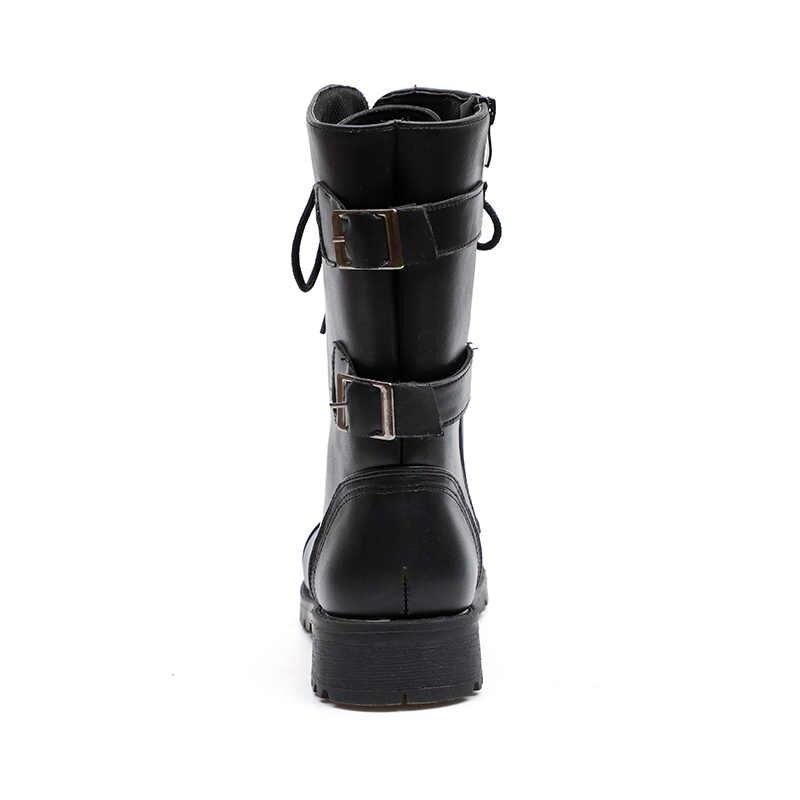 2019 מגפיים עמיד למים נעלי מים אישה גומי תחרה עד מרטין קרסול מגפי תפירה מוצק שטוח עם נעלי גודל