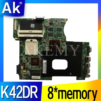 Akemy  For ASUS K42DY A42D X42D K42DR K42D K42DE Loptop Motherboard Mianboard with Video Card 8*memory tested 100% work