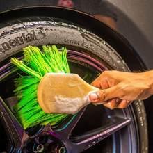 Brosse de nettoyage Durable pour intérieur de voiture, revêtement de sol, tapis, rembourrage, extérieur, poignée courte, roues/pneus