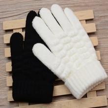 Новые модные детские толстые вязаные теплые зимние перчатки, перчатки, Детские эластичные варежки для мальчиков и девочек, детские однотонные перчатки, аксессуары для рук