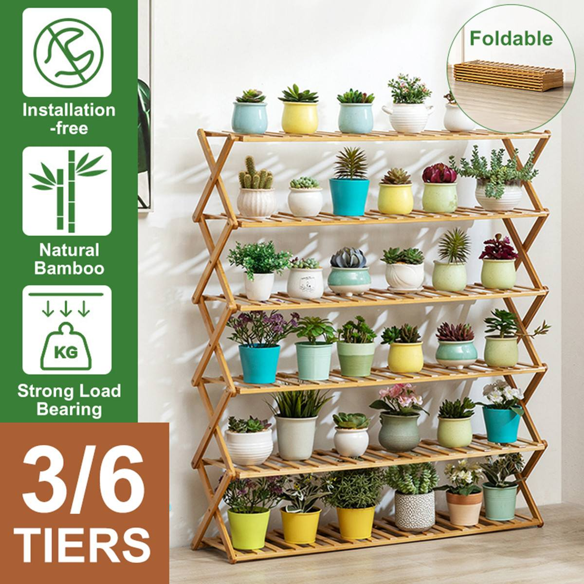 6 Tiers Wooden Flower Rack Plant Stand Multi Flower Stand Shelves Bonsai Display Shelf Yard Garden Patio Balcony Floral Stands