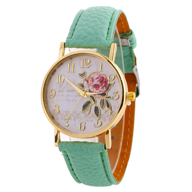 Women Watches Casual Leather Belt Round Quartz Wrist Watch