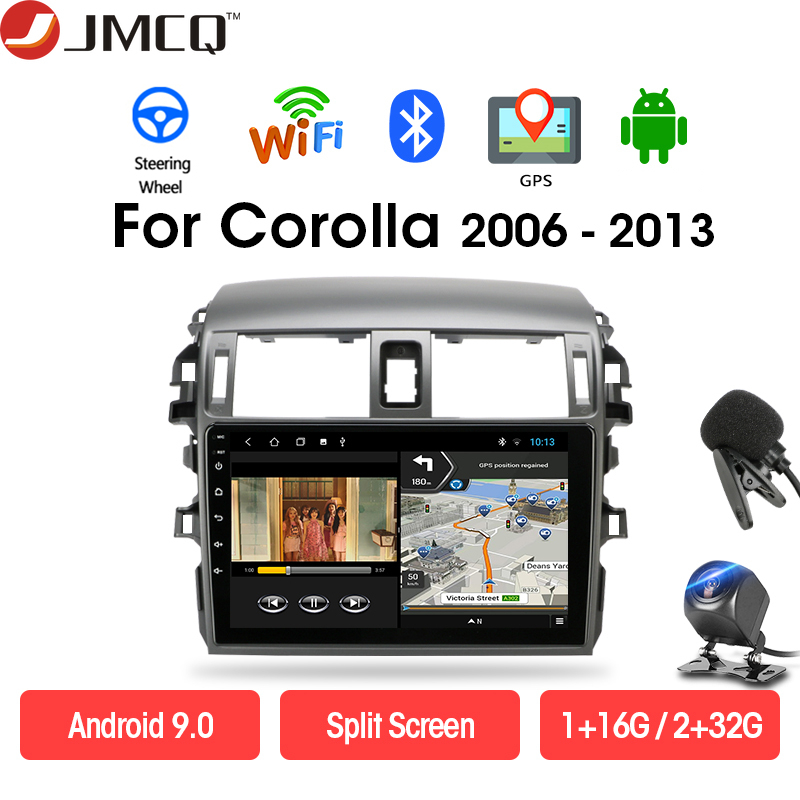 JMCQ Car Radio Multimedia Player for <font><b>Toyota</b></font> <font><b>Corolla</b></font> <font><b>E140/150</b></font> 2006-2013 Android 9.0 DSP 2 din Head Unit GPS Navigation WIFI image