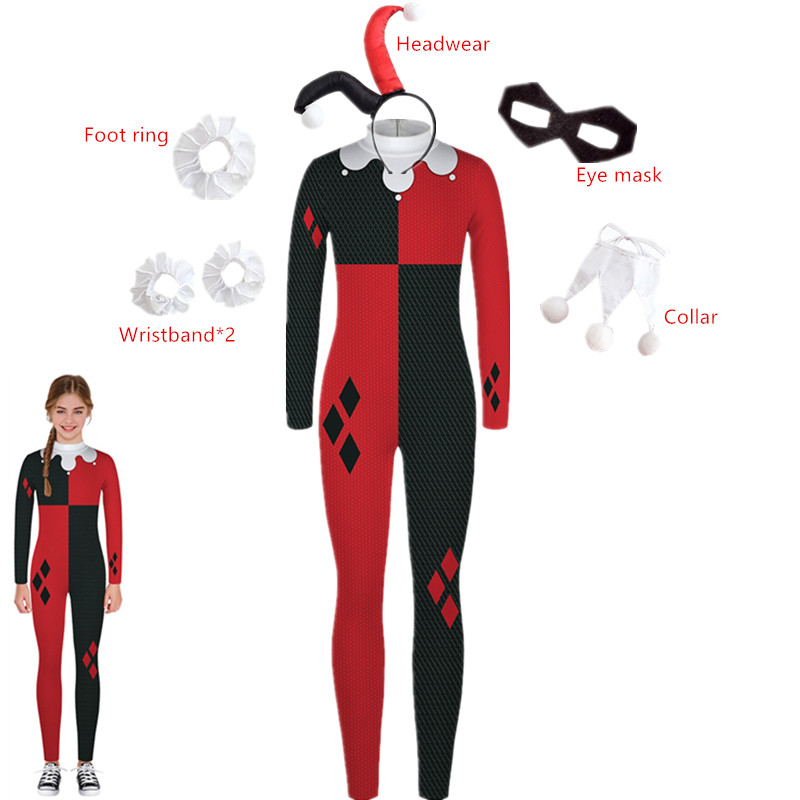 Adult Kids clown female Harry Quinn anime Cosplay costumes Carnival Happy Purim Christmas Party clothing COS Jumpsuits for girls