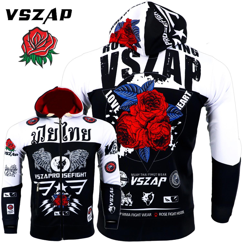 VSZAP Rose Warm Boxing Muay Thai Sweatshirts Gym Cloth Shirt Fighting Martial Arts Fitness Men MMA Rock Hoodies Workout Jacket